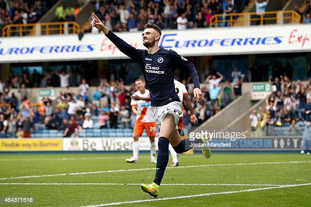 Scott Malone of Millwall celebrates after scoring to make it 2-0 during the Sky Bet Championship match between Millwall and Blackpool at The Den on...