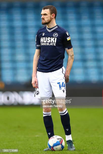 Scott Malone of Millwall FC during the Sky Bet Championship match between Millwall and Sheffield Wednesday at The Den on February 06, 2021 in London,...