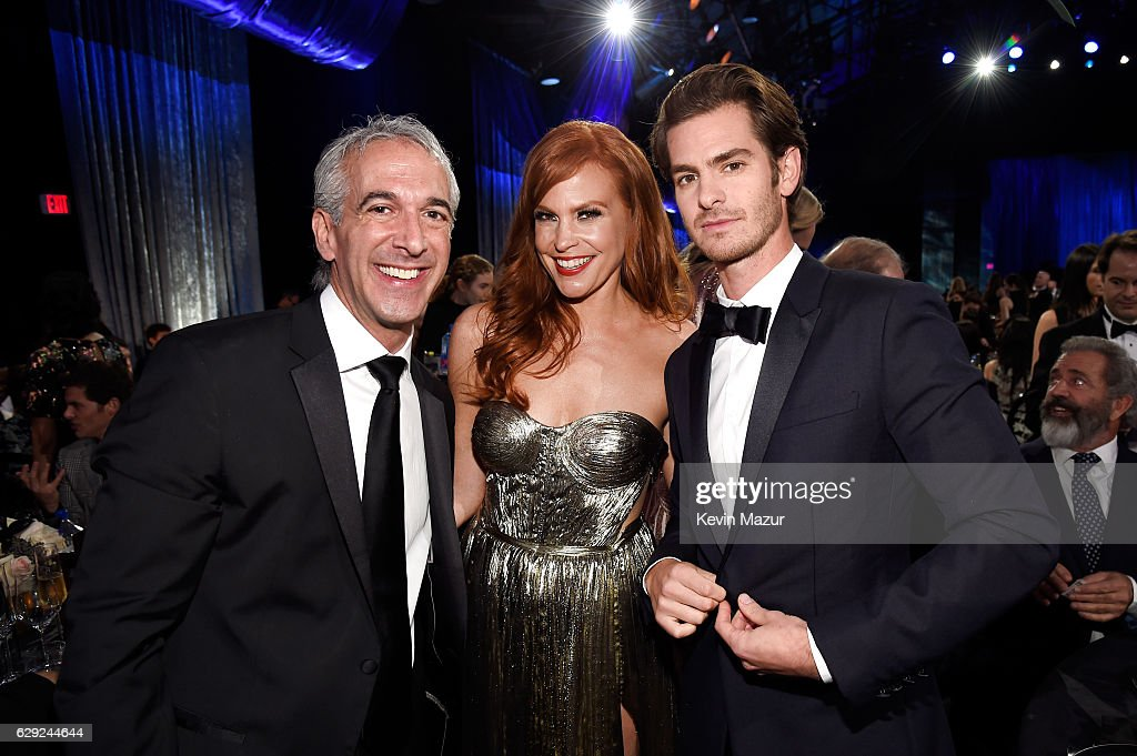 Scott Mantz, Andrea Sabesin and actor Andrew Garfield attend The 22nd Annual Critics' Choice Awards at Barker Hangar on December 11, 2016 in Santa Monica, California.