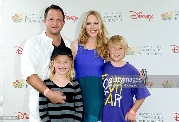 Scott Martin and actress Lauralee Bell with family arrive at the 21st A Time For Heroes Celebrity Picnic sponsored by Disney to benefit the Elizabeth...