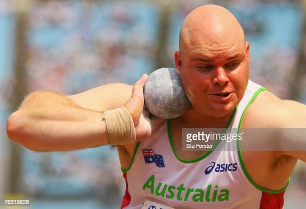 Scott Martin of Australia competes during the Men's Shot Put qualification round on day one of the 11th IAAF World Athletics Championships on August...