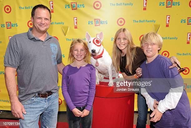 "Scott Martin, Samantha Lee Martin, actress Lauralee Bell, and Christian James Martin with Bullseye arrive at the P.S. ARTS 14th annual ""Express..."