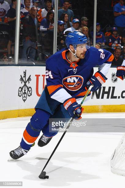 Scott Mayfield of the New York Islanders in action against the Tampa Bay Lightning in Game Six of the Stanley Cup Semifinals of the 2021 Stanley Cup...