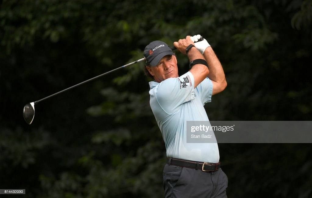 Scott McCarron hits a drive on the second hole during the second round of the PGA TOUR Champions Constellation SENIOR PLAYERS Championship at Caves Valley Golf Club on July 14, 2017 in Baltimore, Maryland.