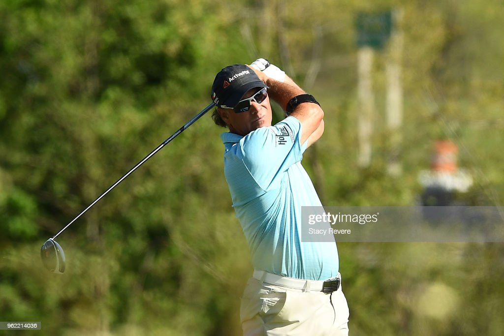Scott McCarron hits his tee shot on the seventh hole during the first round of the Senior PGA Championship presented by KitchenAid at the Golf Club at Harbor Shores on May 24, 2018 in Benton Harbor, Michigan.