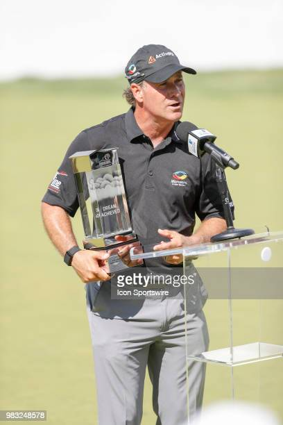 Scott McCarron makes a few remarks after winning the American Family Insurance Championship Champions Tour golf tournament on June 24 2018 at...