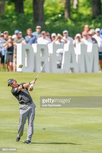 Scott McCarron makes his second shot on eighteen during the final round of the American Family Insurance Championship Champions Tour golf tournament...