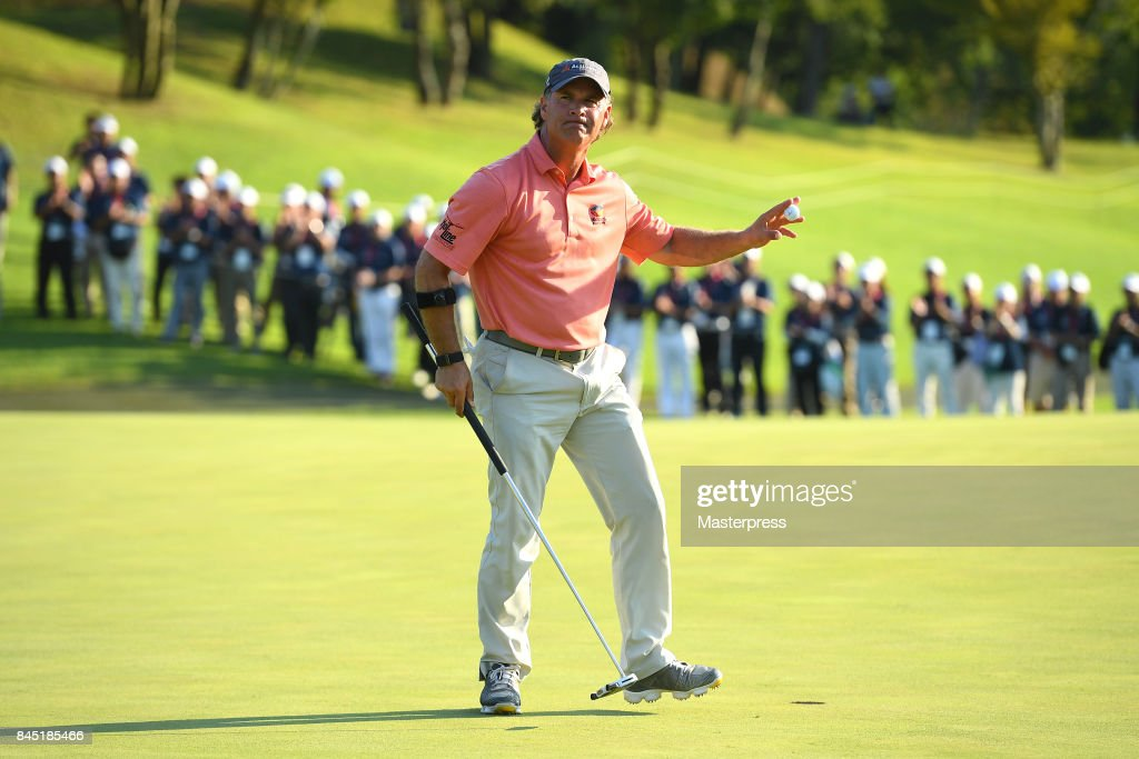 Scott McCarron of the United States reacts after making his birdie putt on the 18th green during the final round of the Japan Airlines Championship at Narita Golf Club-Accordia Golf on September 10, 2017 in Narita, Chiba, Japan.