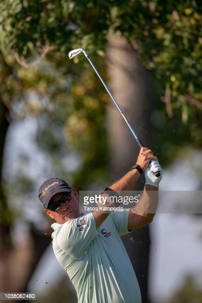 Scott McCarron plays a shot on the 17th hole in the second round of the Sanford International at Minnehaha Country Club on September 22 2018 in Sioux...