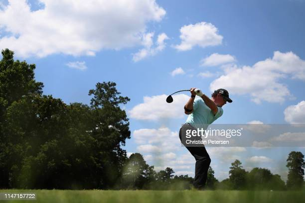 Scott McCarron plays a tee shot on the 10th hole during the final round of the Insperity Invitational at The Woodlands Country Club on May 05 2019 in...