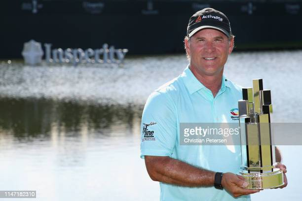 Scott McCarron poses with the trophy after winning the Insperity Invitational at The Woodlands Country Club on May 05 2019 in The Woodlands Texas