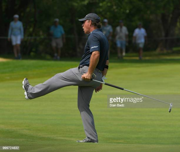 Vijay Singh reacts to his tee shot on the fourth hole during the final round of the PGA TOUR Champions Constellation SENIOR PLAYERS Championship at...