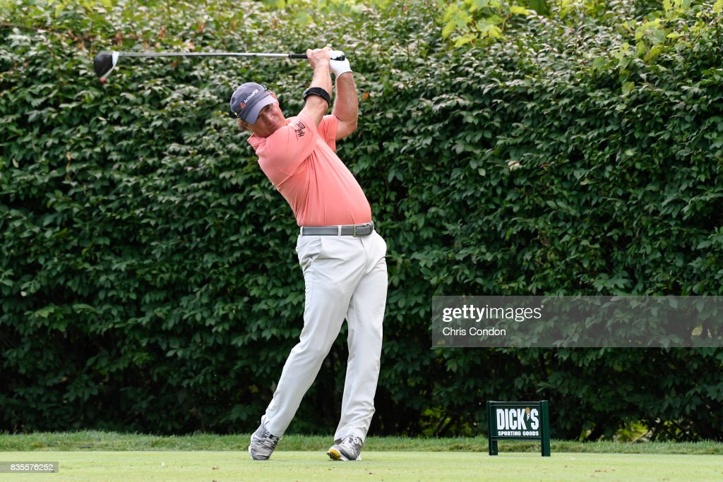 Scott McCarron tees off on the 16th hole during the second round of the PGA TOUR Champions DICK'S Sporting Goods Open at En-Joie Golf Course on August 19, 2017 in Endicott, New York.