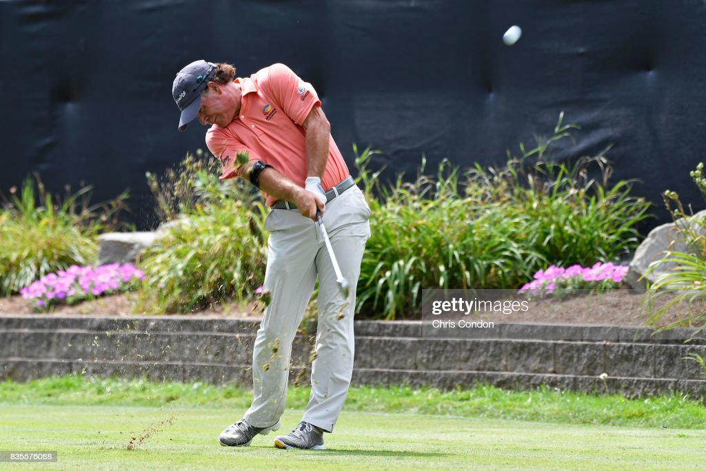 Scott McCarron tees off on the 17th hole during the second round of the PGA TOUR Champions DICK'S Sporting Goods Open at En-Joie Golf Course on August 19, 2017 in Endicott, New York.