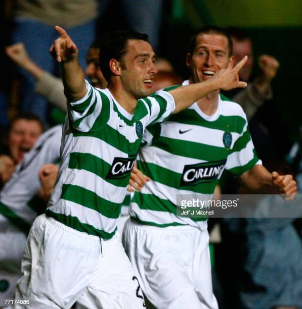 Scott McDonald of Celtic celebrates after scoring during the UEFA Champions League match between Celtic and AC Milan at Celtic Park October 3, 2007...