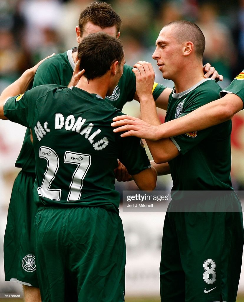 Scott McDonald of Celtic celebrates with Scott Brown after scoring during the Scottish Premier League match between Celtic and St Mirren at Love Street on September 2, 2007 in Paisley, Scotland.