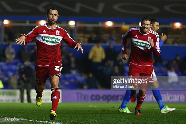 Scott McDonald of Middlesbrough celebrates scoring his sides second goal with Lukas Jutkiewicz during the npower Championship match between...