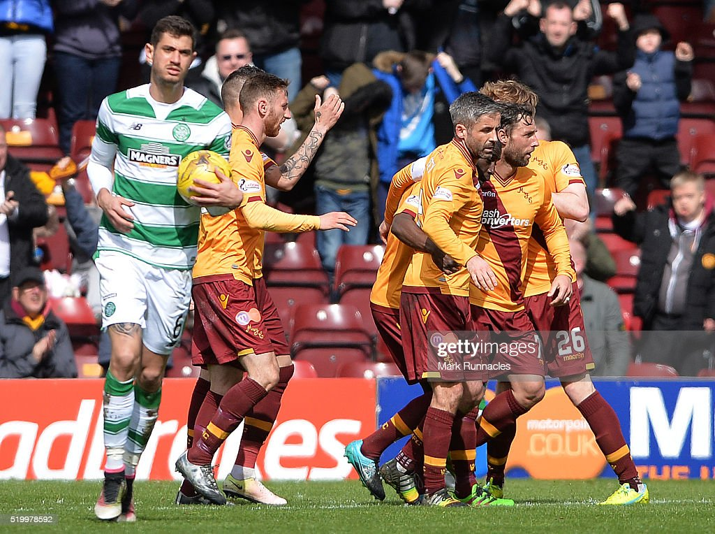 Scott McDonald of Motherwell celebrates scoring a goal with his teammates early in the second half during the Ladbrokes Scottish Premiership match between Celtic FC and Motherwell FC at Fir Park on April 9, 2016 in Glasgow, Scotland.