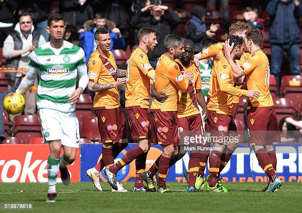 Scott McDonald of Motherwell celebrates scoring a goal with his teammates early in the second half during the Ladbrokes Scottish Premiership match...