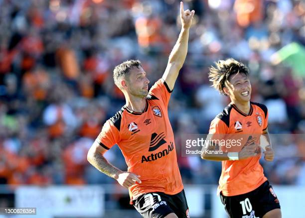 Scott McDonald of the Roar celebrates after scoring a goal during the A-League match between the Brisbane Roar and the Melbourne Victory at Dolphin...
