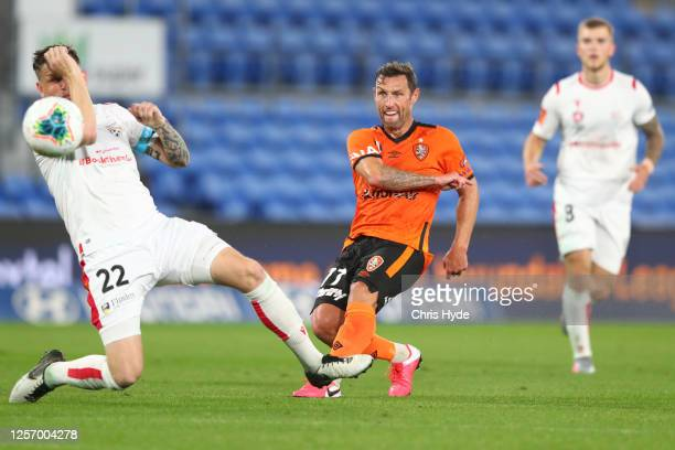 Scott McDonald of the Roar kicks during the round 29 A-League match between the Brisbane Roar and Adelaide United at Cbus Super Stadium on July 19,...