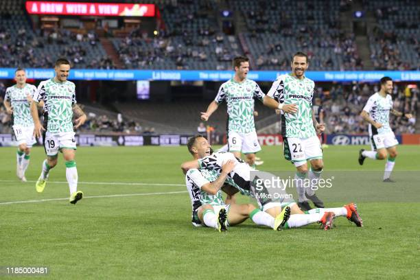 Scott Mcdonald of Western United celebrates after scoring a goal during the round four A-League match between Melbourne Victory and Western United at...
