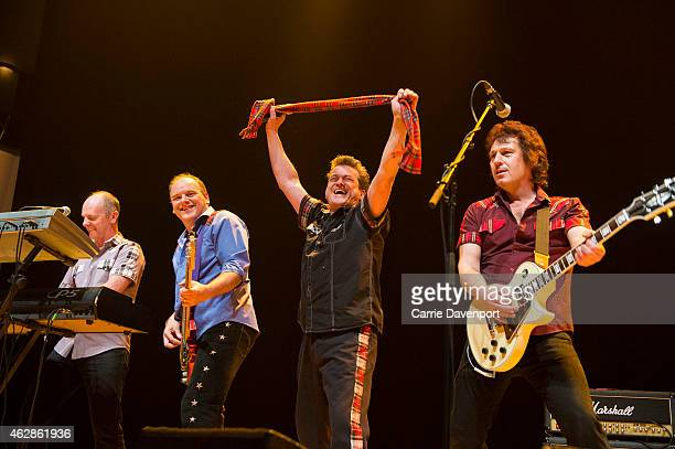 Scott McGowan lan Longmuir Les McKeown and Phil Kennedy Bay City Rollers perform on stage at Waterfront Hall on February 6 2015 in Belfast United...