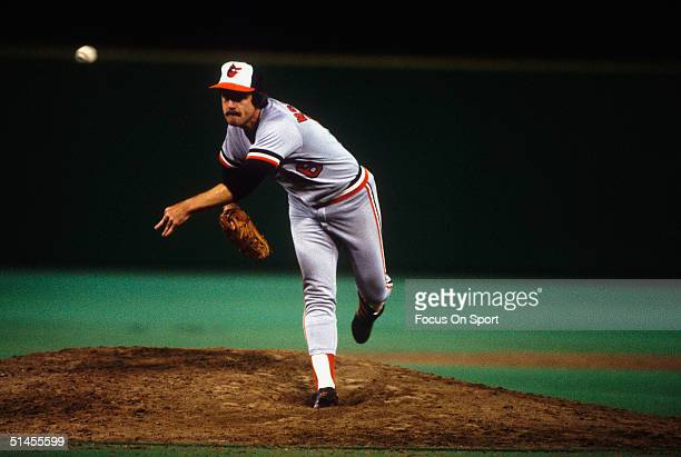 Scott McGregor of the Baltimore Orioles pitches against the Philadelphia Phillies durnig Game five of the 1983 World Series at Veterans Stadium on...