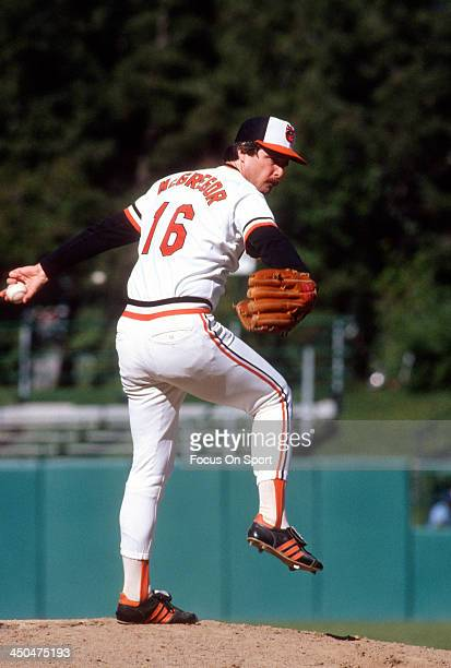 Scott McGregor of the Baltimore Orioles pitches during an Major League Baseball game circa 1980 at Memorial Stadium in Baltimore Maryland McGregor...