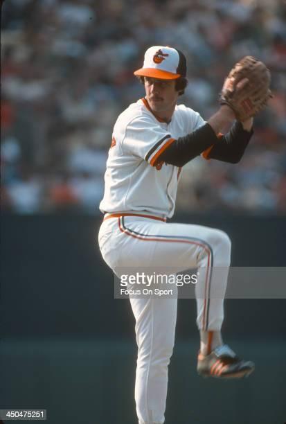 Scott McGregor of the Baltimore Orioles pitches during an Major League Baseball game circa 1981 at Memorial Stadium in Baltimore Maryland McGregor...