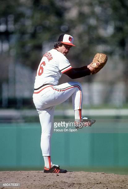Scott McGregor of the Baltimore Orioles pitches during an Major League Baseball game circa 1982 at Memorial Stadium in Baltimore Maryland McGregor...