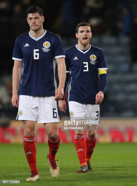 Scott McKenna and Andy Robertson of Scotland are seen during the Vauxhall International Challenge match between Scotland and Costa Rica at Hampden...