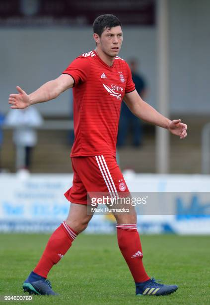 Scott Mckenna of Aberdeen in action during the PreSeason Friendly between Falkirk and Aberdeen at Gayfield Park on July 4 2018 in Arbroath Scotland