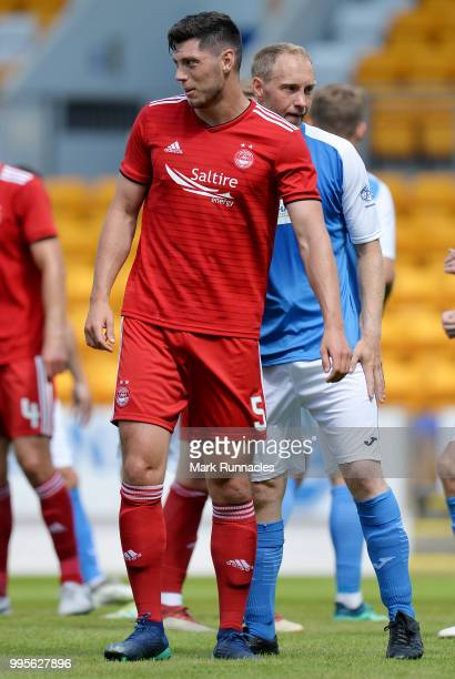 Scott McKenna of Aberdeen in action during the PreSeason Friendly between St Johnstone and Aberdeen at McDiarmid Park on July 8 2018 in Perth Scotland