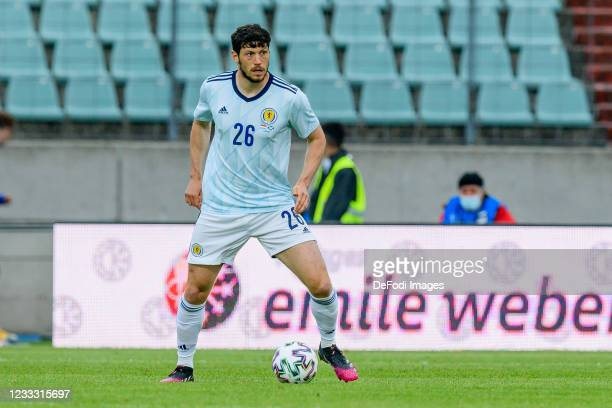 Scott McKenna of Scotland controls the ball during the international friendly match between Luxembourg and Scotland at Josy-Barthel-Stadium on June...