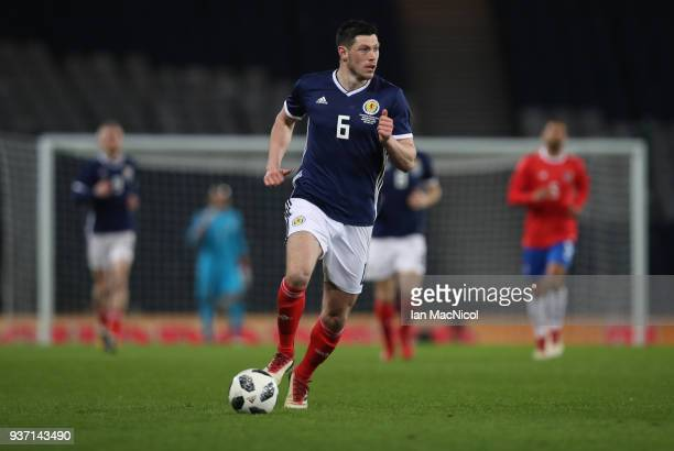 Scott McKenna of Scotland controls the ball during the Vauxhall International Challenge match between Scotland and Costa Rica at Hampden Park on...