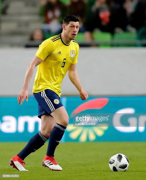 Scott McKenna of Scotland in action during the International Friendly match between Hungary and Scotland at Groupama Arena on March 27 2018 in...