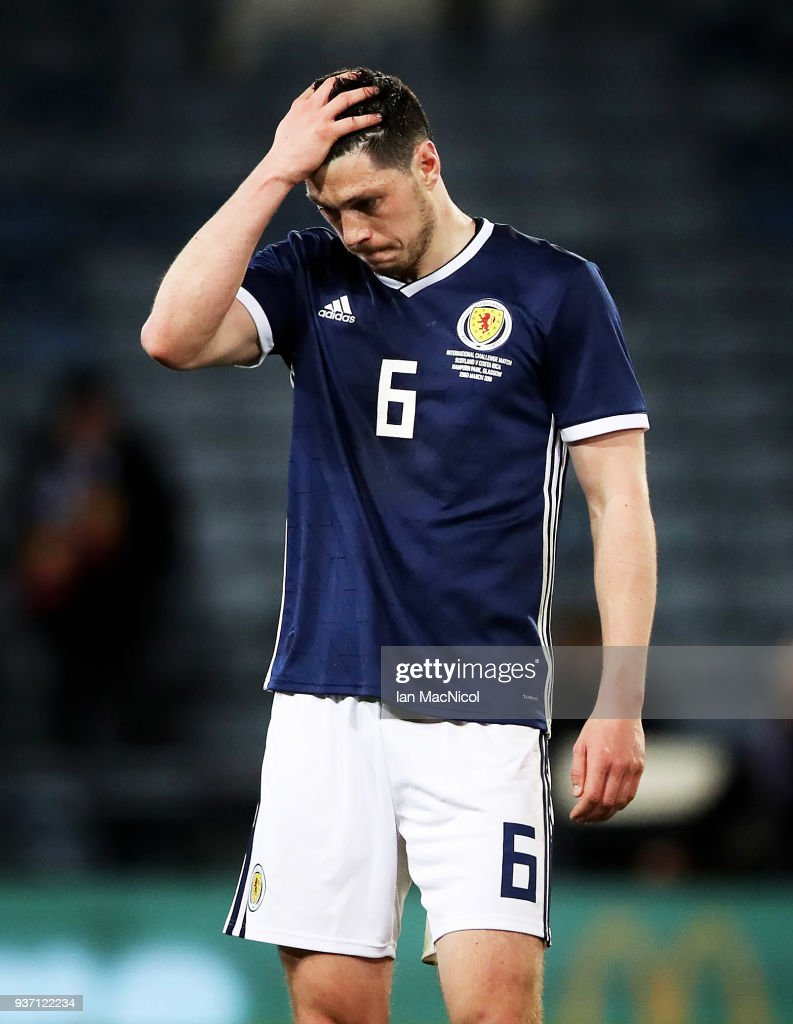 Scott McKenna of Scotland is seen during the Vauxhall International Challenge match between Scotland and Costa Rica at Hampden Park on March 23, 2018 in Glasgow, Scotland.