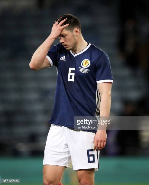 Scott McKenna of Scotland is seen during the Vauxhall International Challenge match between Scotland and Costa Rica at Hampden Park on March 23 2018...