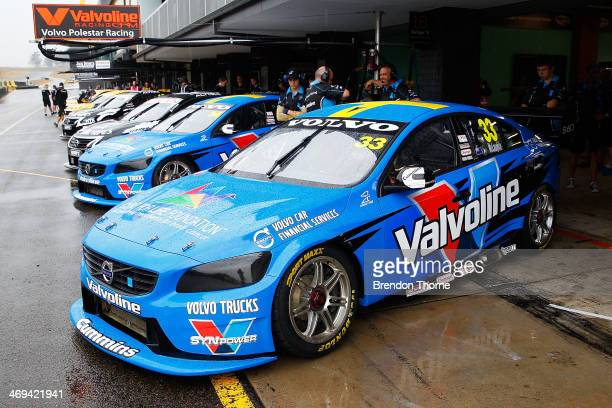 Scott McLaughlin and Robert Dahlgren drivers of the and Valvoline Racing GRM Volvo's prepare to exit pit lane during the 2014 V8 Supercars test day...