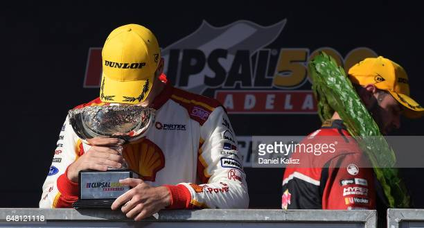 Scott McLaughlin driver of the Shell VPower Racing Team Ford Falcon FGX reacts after finishing second during race 2 for the Clipsal 500 which is part...