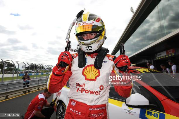 Scott McLaughlin driver of the Shell VPower Racing Team Ford Falcon FGX celebrates after taking pole position for race 5 for the Phillip Island 500...