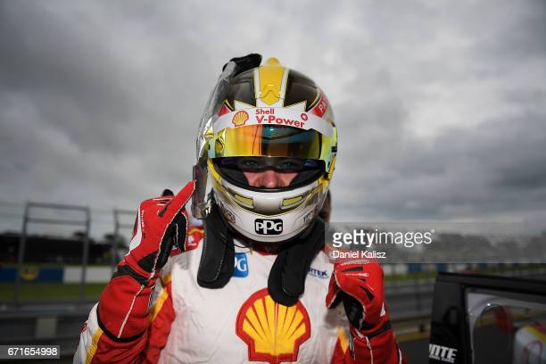 Scott McLaughlin driver of the Shell VPower Racing Team Ford Falcon FGX celebrates after taking pole position for race 6 for the Phillip Island 500...