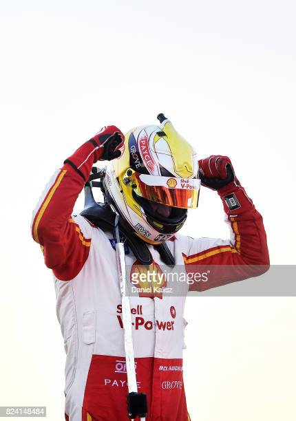 Scott McLaughlin driver of the Shell VPower Racing Team Ford Falcon FGX celebrates after winning race 15 for the Ipswich SuperSprint which is part of...