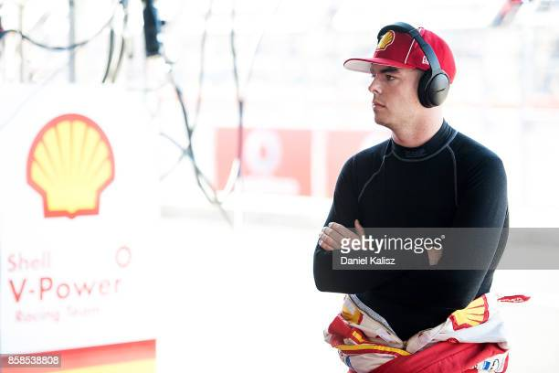 Scott McLaughlin driver of the Shell VPower Racing Team Ford Falcon FGX prepares for the top ten shootout ahead of this weekend's Bathurst 1000 which...