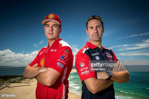 Scott McLaughlin driver of the Shell VPower Racing Team Ford Falcon FGX and Jamie Whincup driver of the Red Bull Holden Racing Team Holden Commodore...