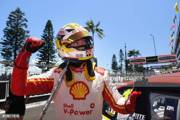 Scott McLaughlin driver of the Shell VPower Racing Team Ford Falcon FGX celebrates after taking pole position during qualifying for race 25 for the...