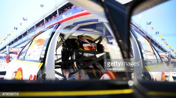 Scott McLaughlin driver of the Shell VPower Racing Team Ford Falcon FGX looks on during qualifying for race 26 for the Newcastle 500 which is part of...