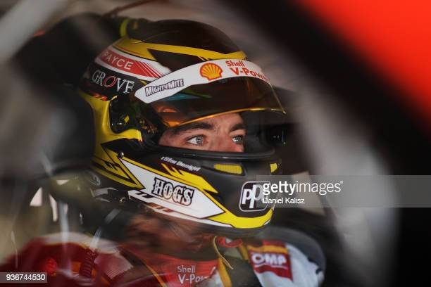 Scott McLaughlin driver of the Shell VPower Racing Team Ford Falcon FGX looks on during qualifying for the Supercars Australian Grand Prix round at...