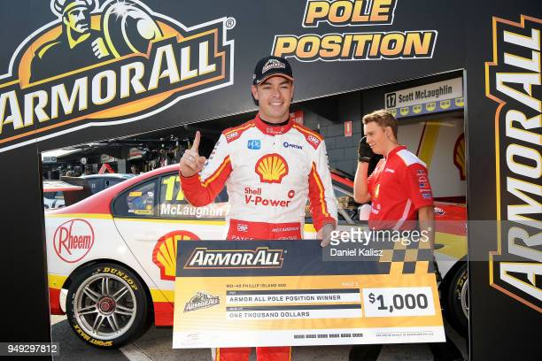 Scott McLaughlin driver of the Shell VPower Racing Team Ford Falcon FGX celebrates after claiming pole position during the Supercars Phillip Island...
